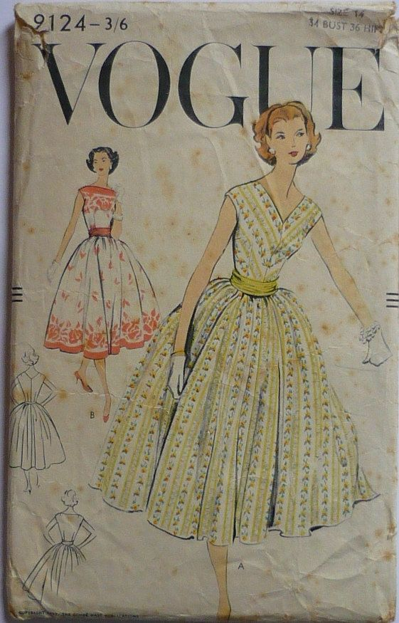 Vintage Sewing pattern. Vogue 9124. Dress pattern 1950s bust 34 ...