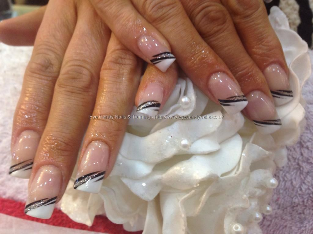 Acrylic nails with French polish ,black and silver free hand nail ...
