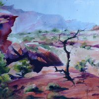 """""""Panorama Point"""" watercolor 12""""x16"""" AWARD Winner by Colleen Reynolds, reminds me of the outback here in Australia."""