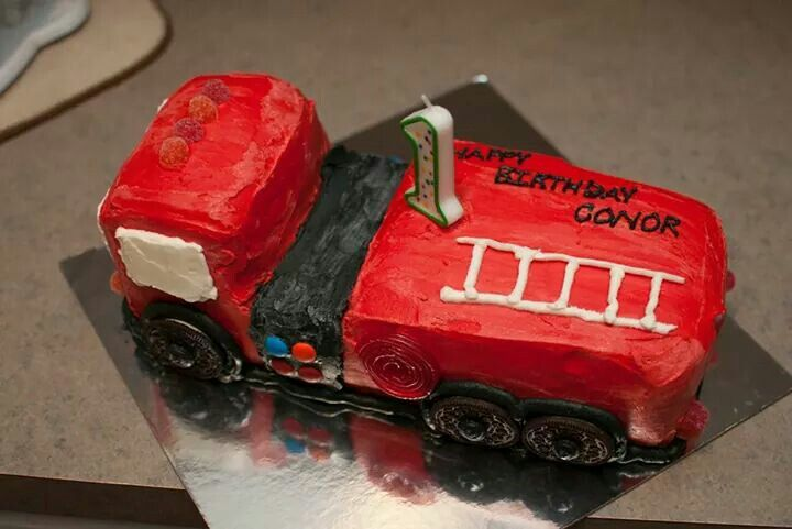 Homemade fire truck cake for my sons first birthday