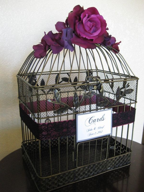 Card Box Wedding Card Holder  /  Wedding Card Holder Birdcage / Birdcage Card Holder. $60.00, via Etsy.