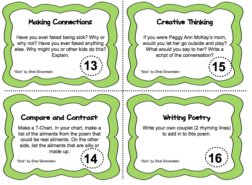 Shel Silverstein Task Cards from More Than a Worksheet. 92 task ...