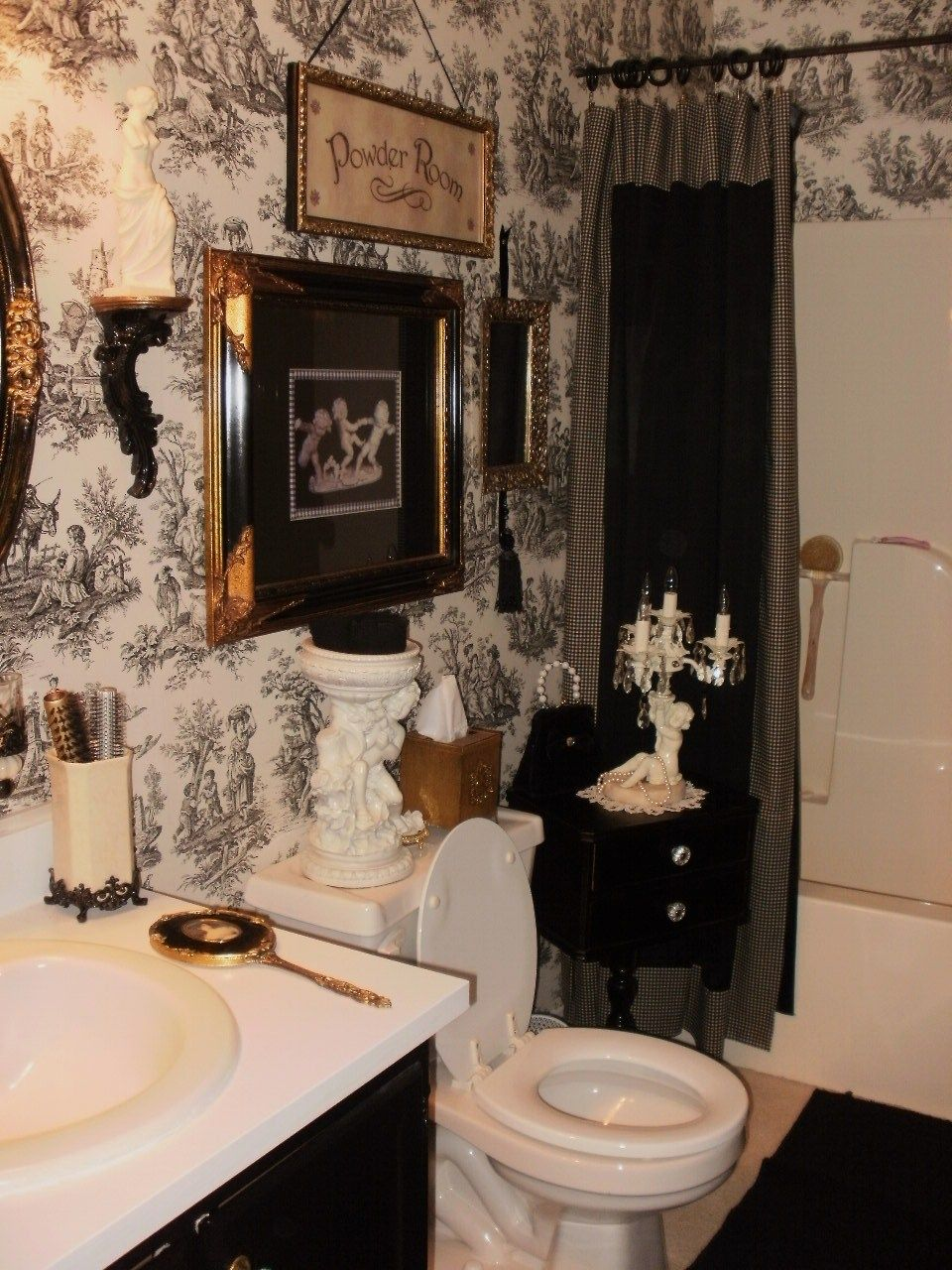 ideas for bathrooms decorating%0A My friend Laura u    s beautiful toile bathroom