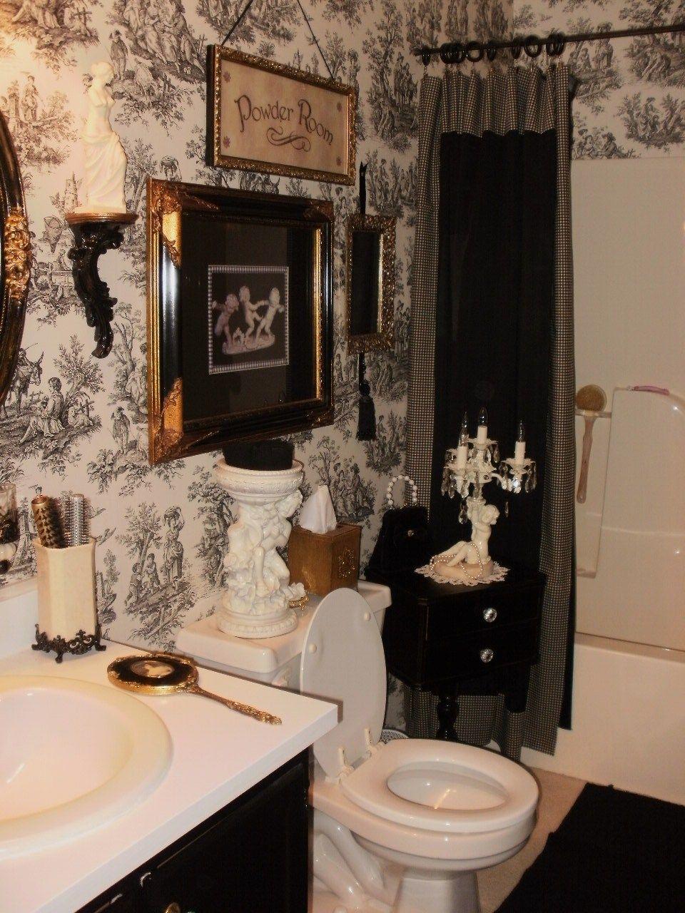 ideas for bathrooms decorating%0A My friend Laura u    s beautiful toile bathroom
