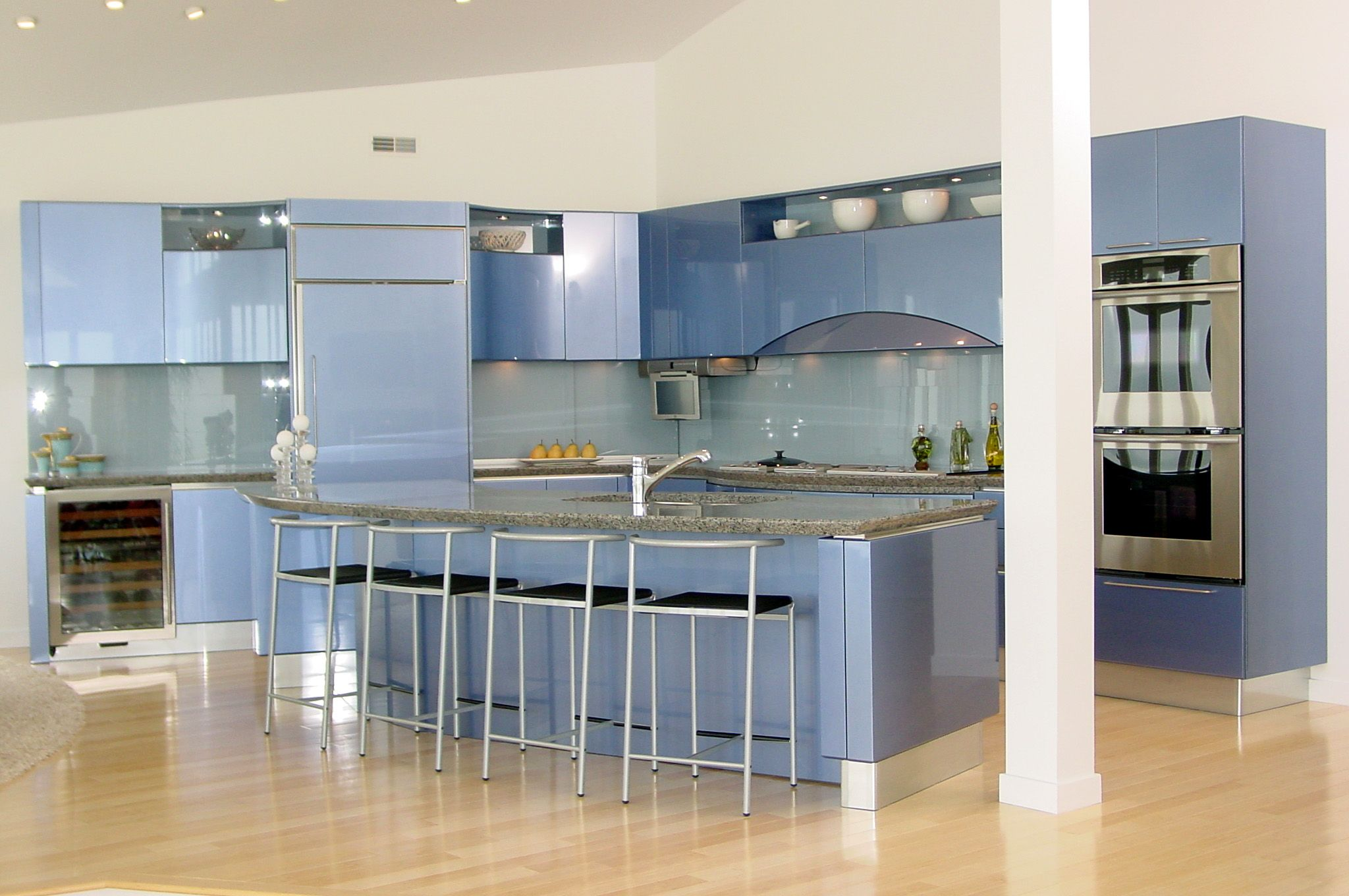 Blue Ola Kitchen Cabinets By Snaidero USA. Italian Modern Kitchen Design.
