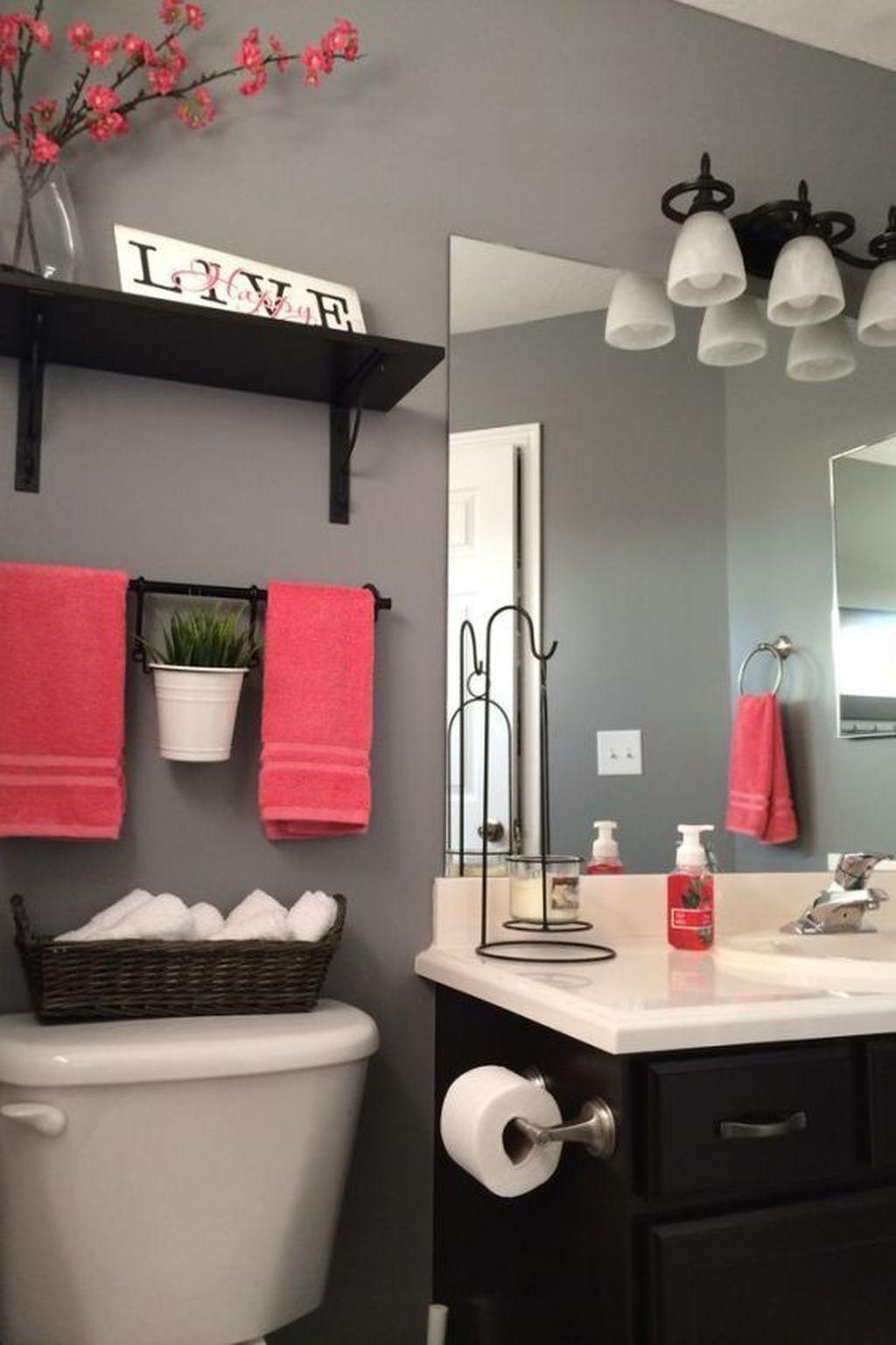 Adorable 30 Cozy Coral Color Ideas For Bathroom Best Bathroom Colors Small Bathroom Decor Bathroom Color Schemes Grey decor for bathroom