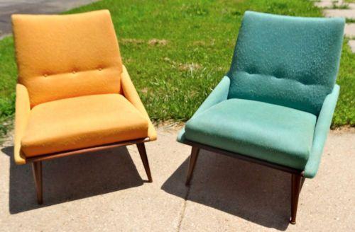 Pair Vintage Midcentury Danish Modern Kroehler Slipper Chair