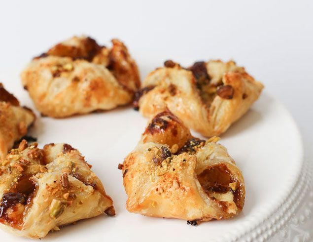 from honest cooking -— Havarti and Fig Butter Filled Pastries with Honey #recipe