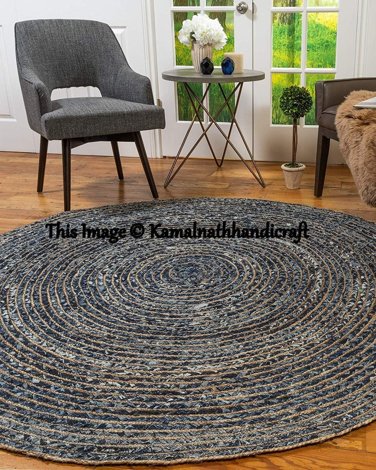 Indian Handmade Hand Braided Bohemian Colorful Cotton Jute Area Rug Round Rug Multi Colors Home Decor Rugs 7x7 Feet Jute Denim Round Rug Jute Round Rug Jute Area Rugs Floor Rugs