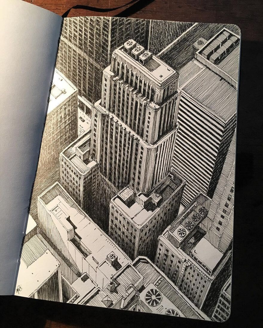 Drawing Urban Architecture On A Sketchbook Art Sketchbook Art