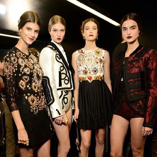 Swooning over the matador-inspired separates and opulent details at #DolceandGabbana #SS15