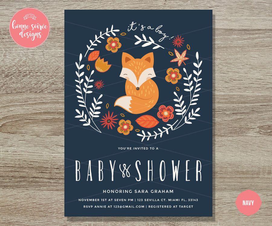 Fox Baby Shower Invitation Printable// 5x7 Boy or Girl Floral ...