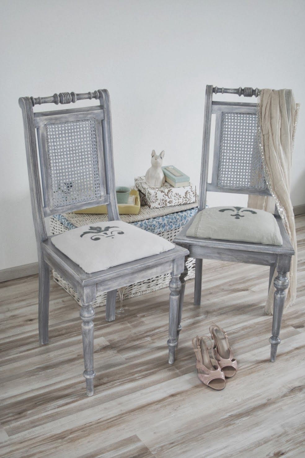 FRENCH COUNTRY COTTAGE CHAIRS  CHALK PAINT GREY BLUE