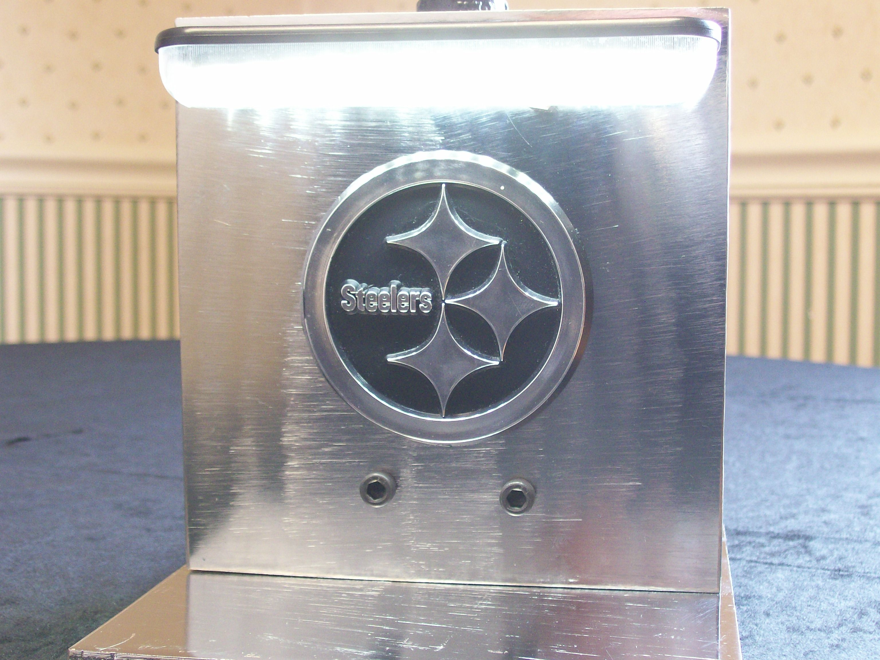 Industrial chrome Steelers emblem lamp thats dual purpose3 way