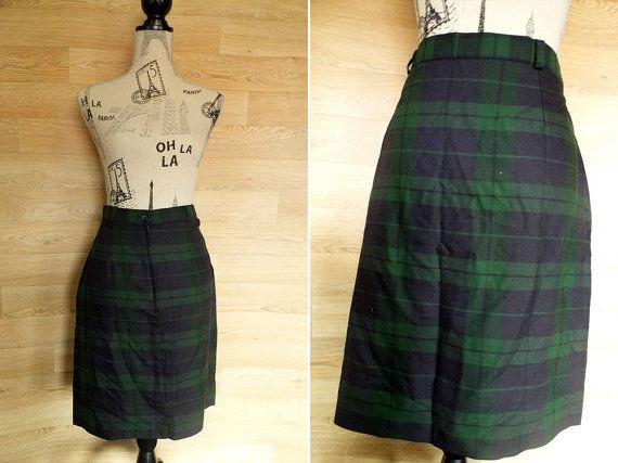 fa9761864748 80's Tartan High Waist Pencil Skirt • Plaid Skirt • Grunge skirt Wiggle  Skirt • 80s womens kilt High Waisted Green Tartan Skirt Punk Skirt
