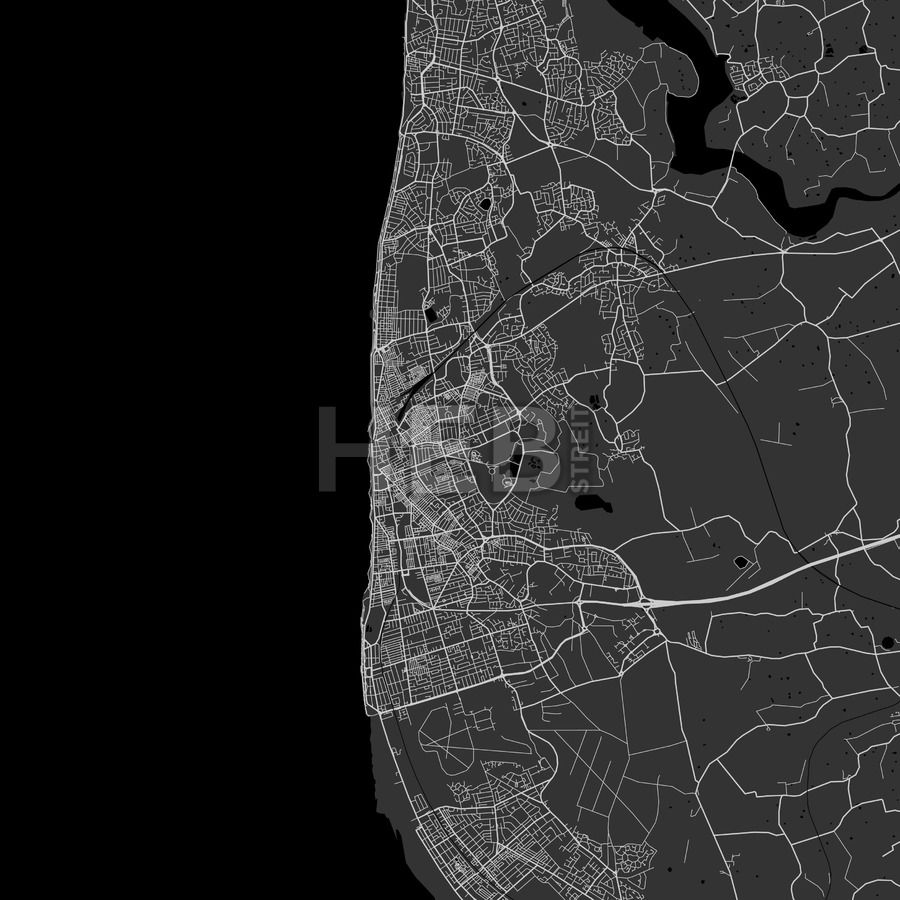 Blackpool Area Map in dark shaded version
