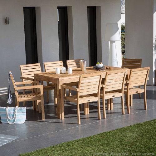 Salon de jardin en teck brut table extensible et 8 fauteuils ...
