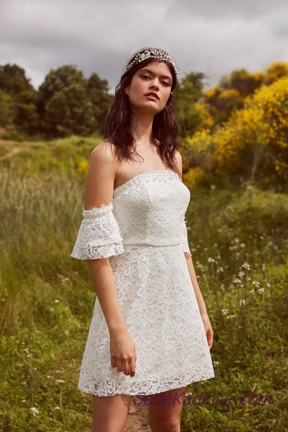 51546d37e767f En Güzel 2019 Beyaz Elbise Modelleri Kısa Omzu Açık Düşük Kol Güpür ...