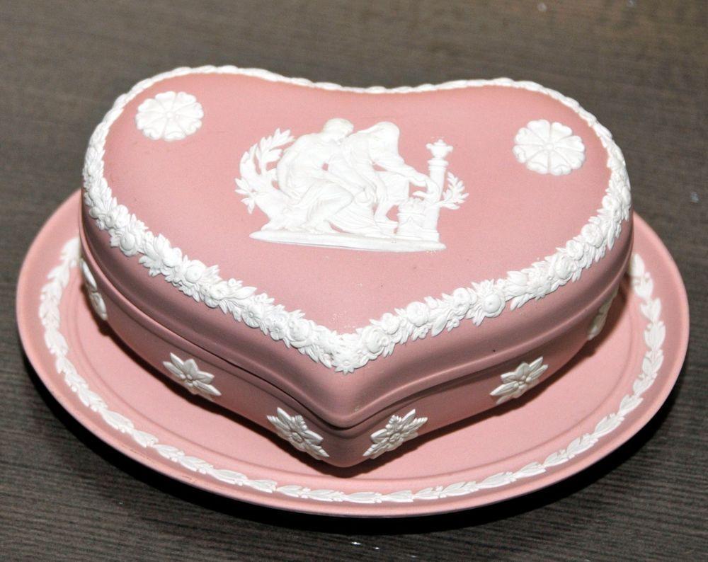 Wedgeood Jasperware White on Pink Heart Shaped Dresser Box With ...
