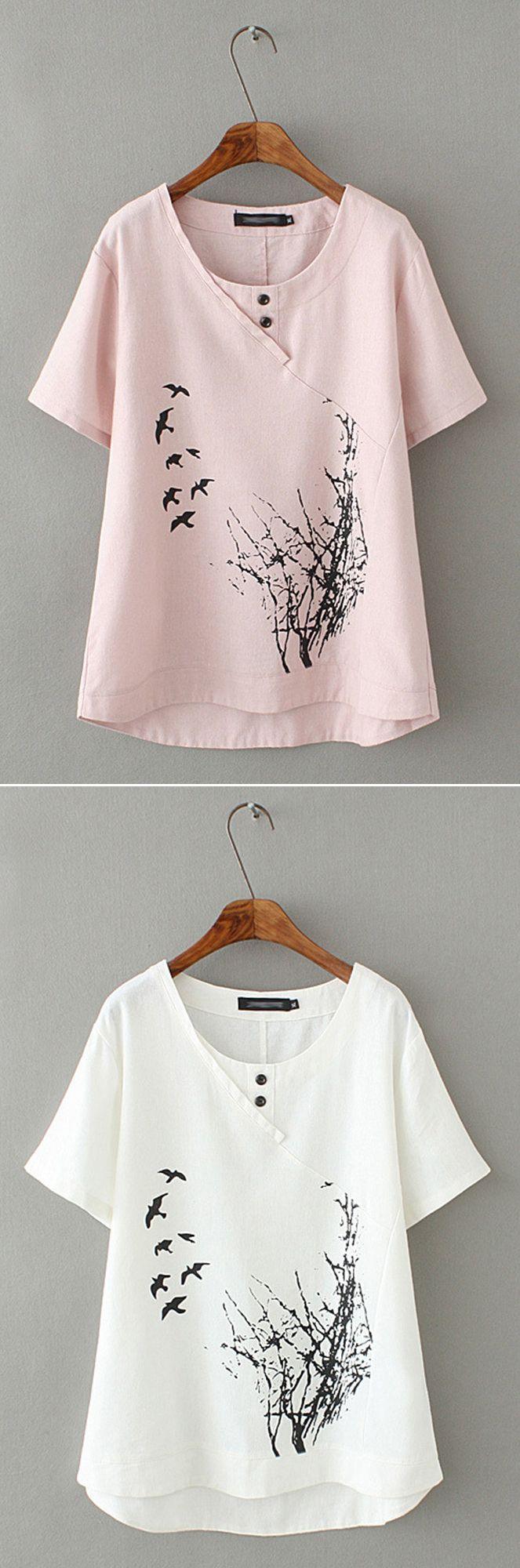 340c281d73c Casual Printed Short Sleeve High-low Hem Shirt for Women  top  shirt ...