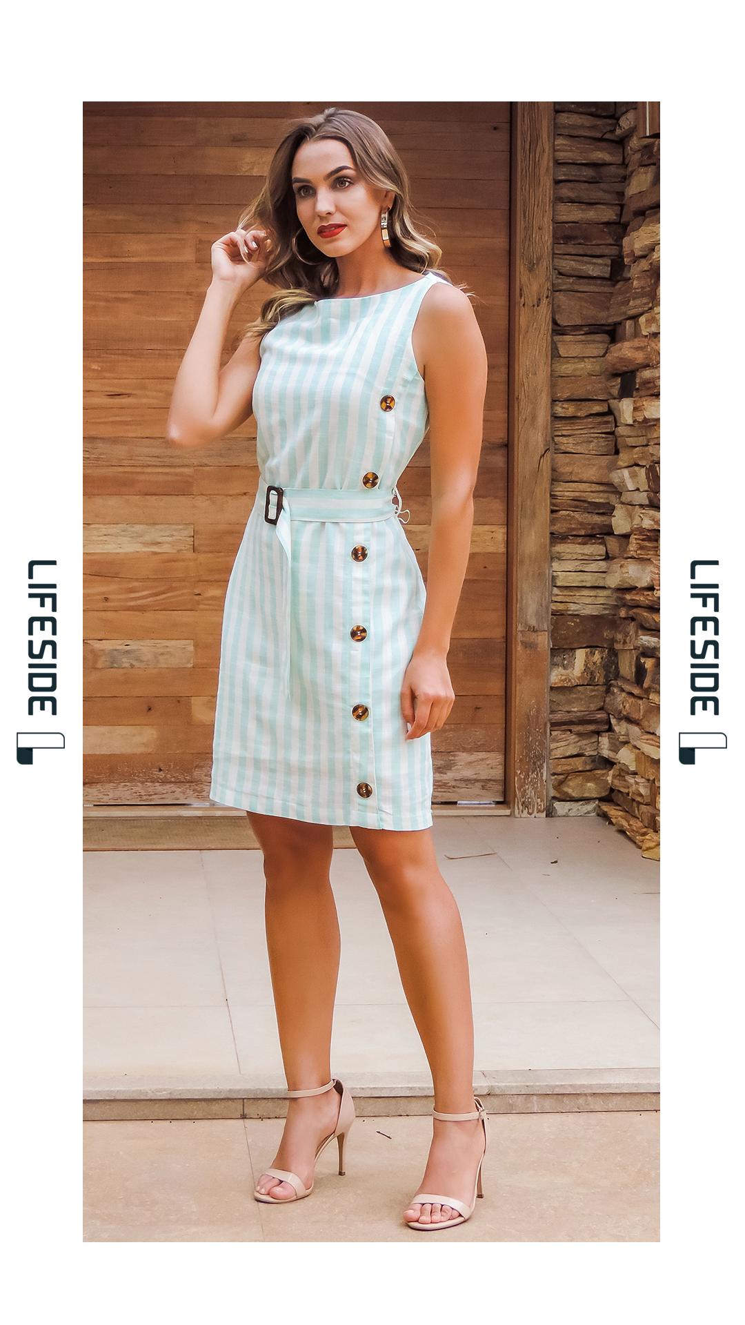 94c2b4dd6f18eb LIFESIDE | Moda Feminina Primavera 2019. Vestido em linho listrado ...