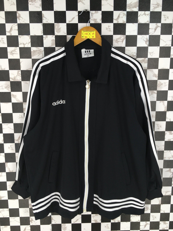 a1eb5fd4fa13f ADIDAS Windbreaker Black Xlarge Vintage Adidas Three Stripes ...