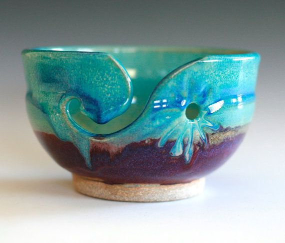 yarn bowl knitting bowl handmade ceramic yarn bowl by