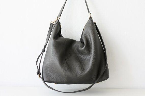 8703d1bb58 NELA Gray Leather Hobo Bag Medium Shoulder Bag by MISHKAbags