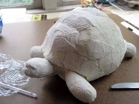 Ploughshare Tortoise, Adding Texture to Shell   papier mache
