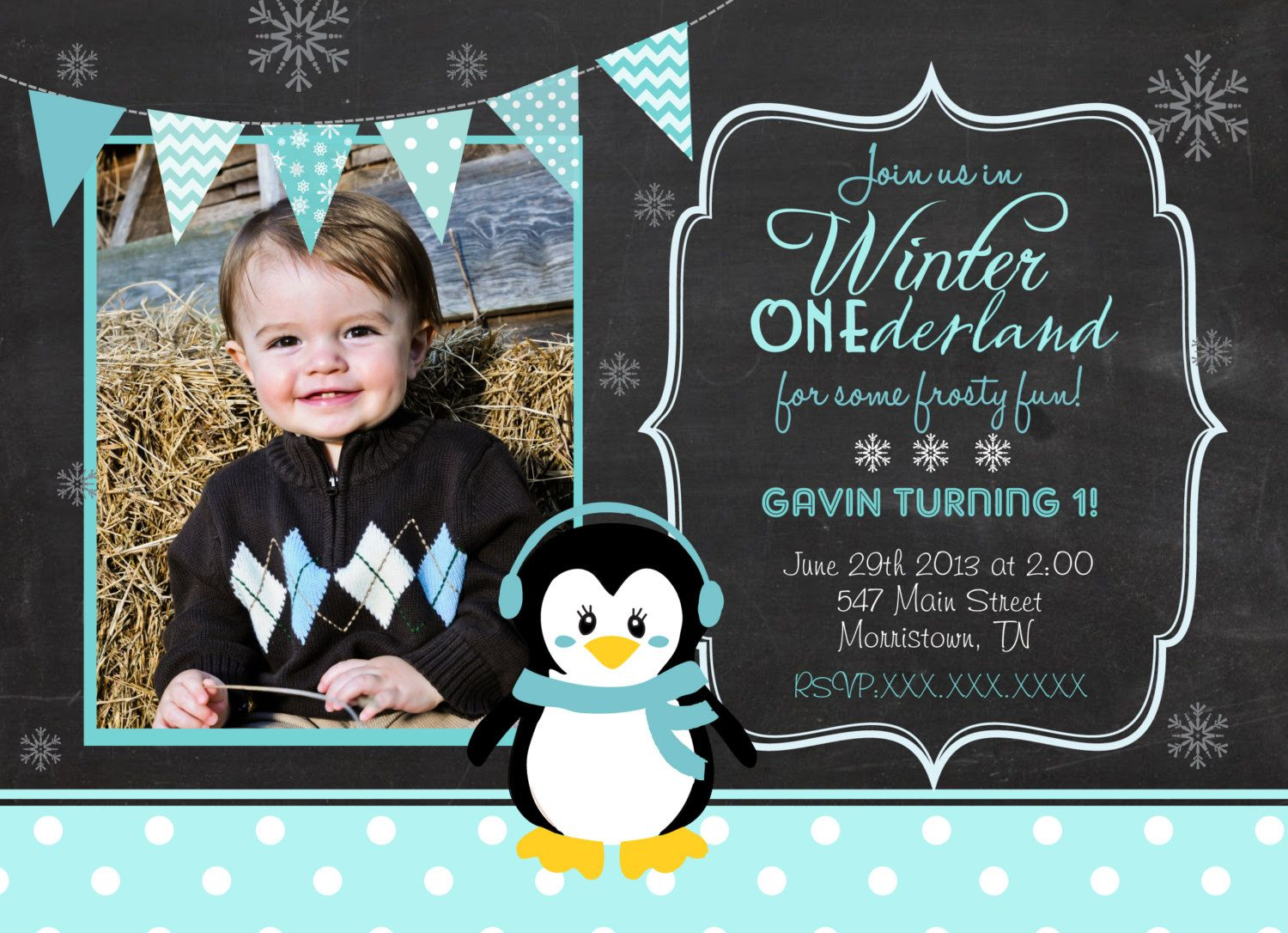 wording ideas forst birthday party invitation%0A Chalk Winter Onederland  st Birthday by MakinMemoriesOnPaper