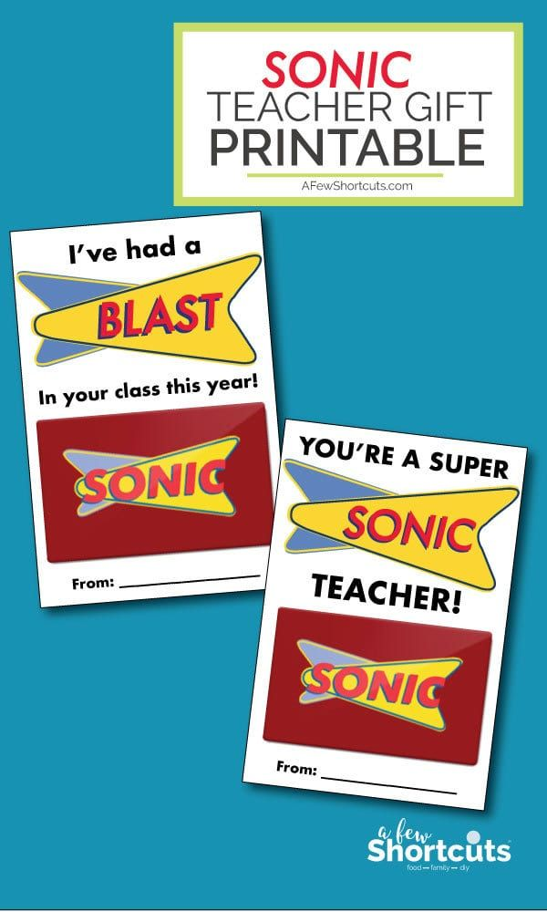 Sonic Teacher Gift Card Printable #custodianappreciationgifts