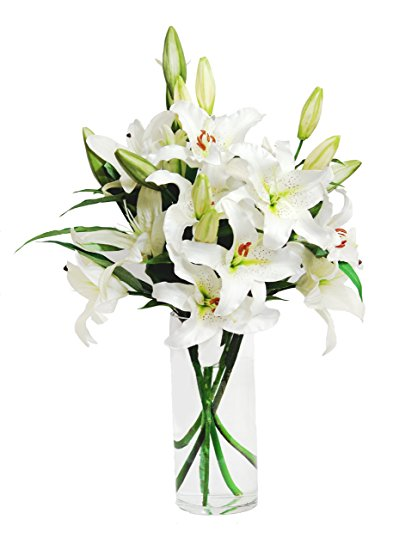 White Lily Bouquet (6 Stems) With Vase White lily
