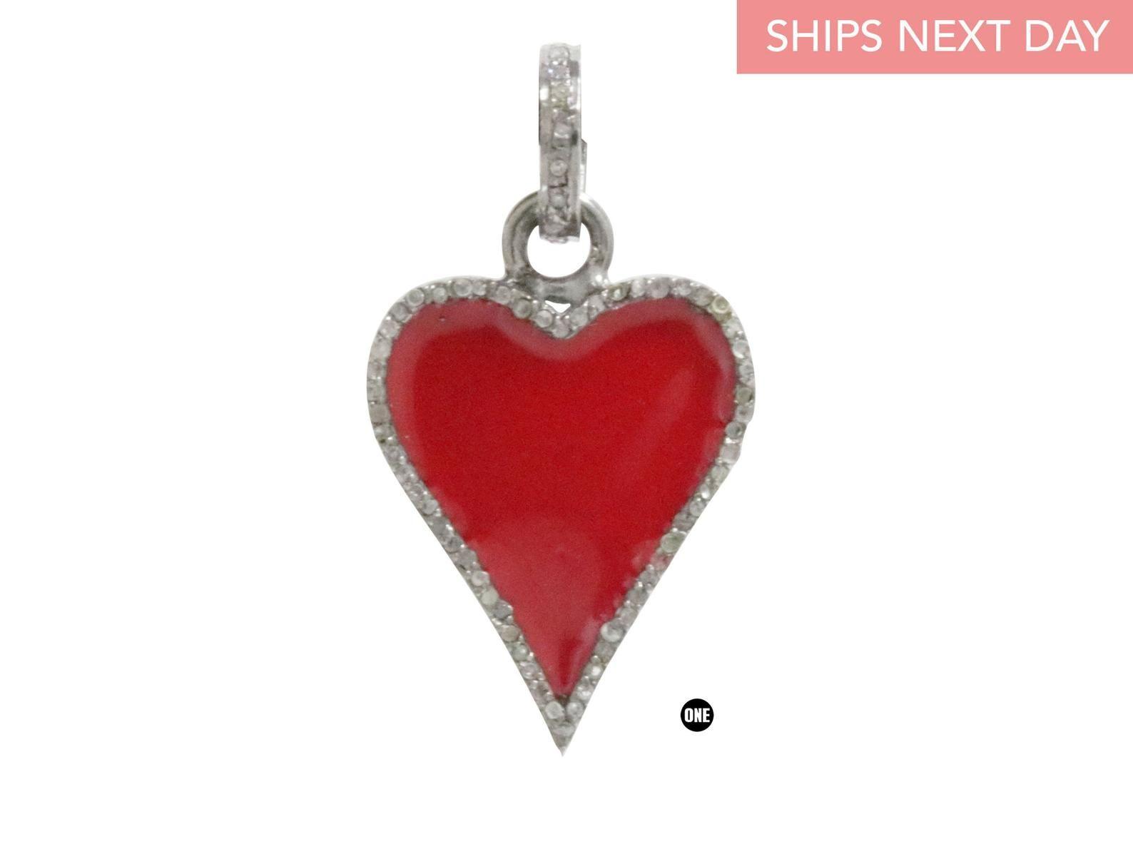 Pave Diamond Enamel Heart Pendant 4076-DEM   Etsy