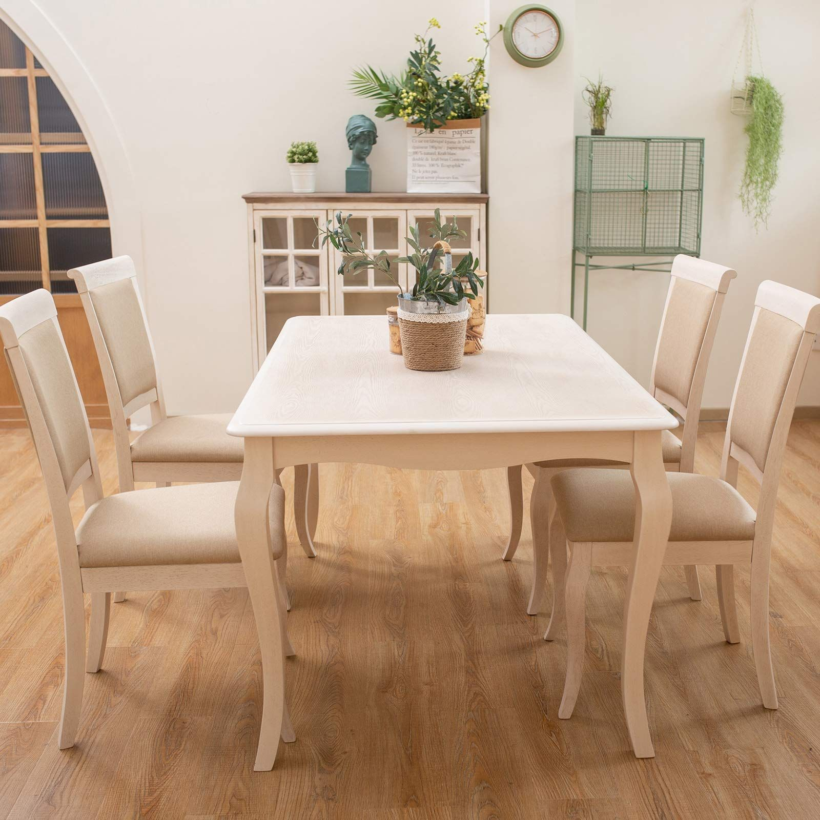 Furgle Dining Set Rectangular Rubber Wood Kitchen Table With 4 Chairs Back And Seat With Microfi Modern Furniture Sets Modern Kitchen Room Kitchen Table Wood