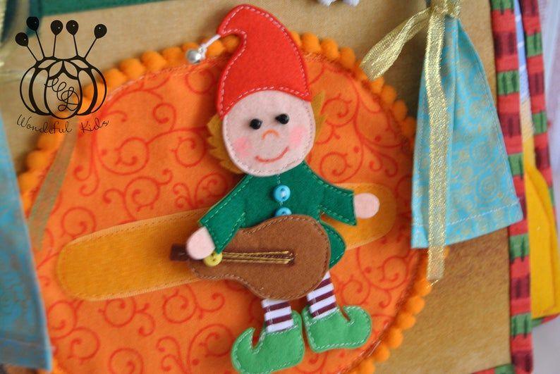 Quiet Busy Book Christmas page Toddler sensory book Elf felt Santas dollhouse Soft Cloth Book fairy tale
