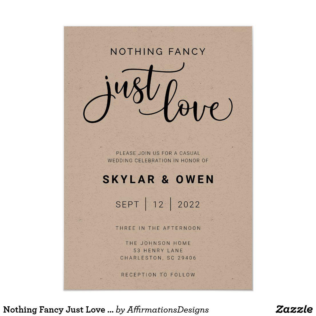 Nothing Fancy Just Love Wedding Invitation Zazzle Com In 2021 Second Wedding Invitations Unique Wedding Invitation Wording Wedding Invitation Quotes