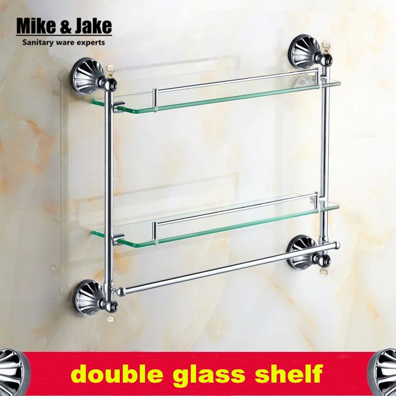 crystal bathroom accessories sets%0A Bathroom Accessories chrome Finish With crystal Tempered Glass shelf double  Glass Shelf bathroom double shower