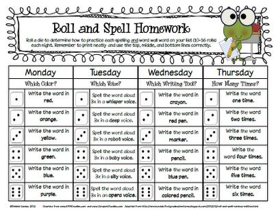 Sailing Through 1st Grade: Roll and Spell Homework | word work ...