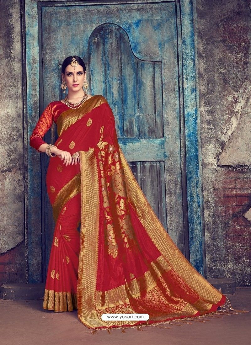d6ba41c93a Red Jaquard Nylon Silk Designer Party Wear Saree | DESIGNER SAREES ...