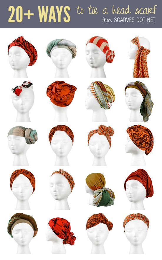 a7014ab62e613 How to tie head scarves. I officially have no excuse not to wear my many  scarves at this point.