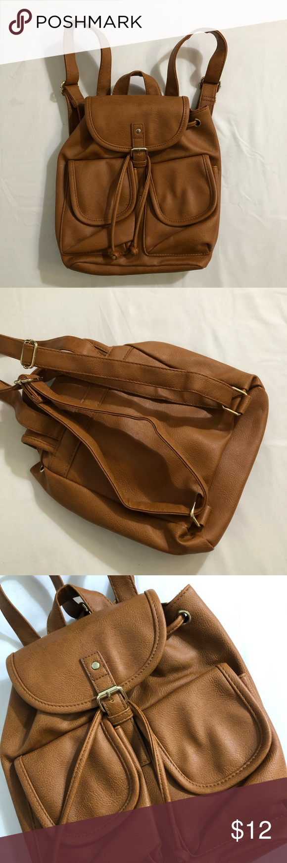 6ac55ab8ecd Tan leather backpack Never used. No brand Bags Backpacks | My Posh ...