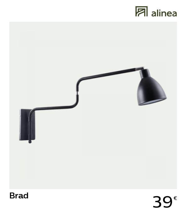 Alinea brad applique articulée en acier noir h42cm luminaires appliques et spots appliques murales