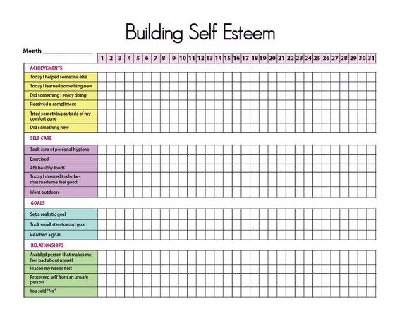 Printable Self-Esteem Tracker I | Building self esteem ...