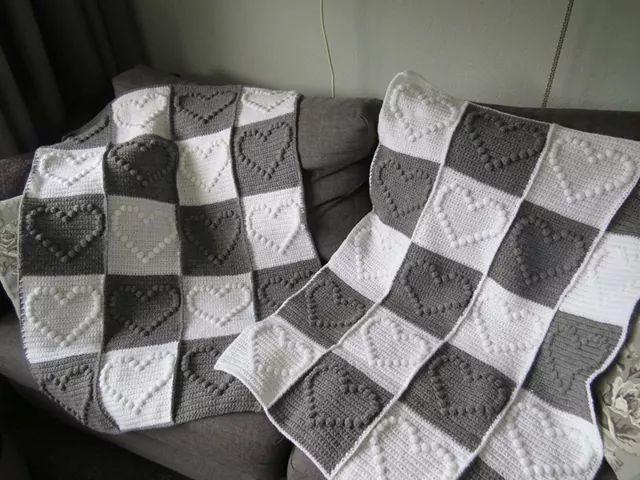 Babydeken Met Popcornsteek In Hart Vorm Blanket Pinterest