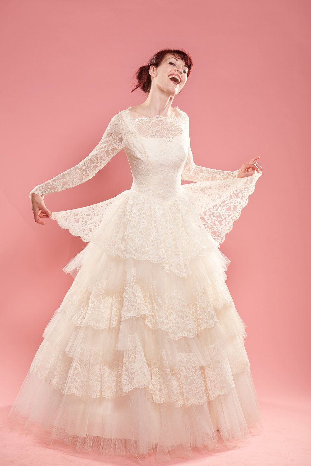 1950s lace dress  RESERVED Vintage s Lace Wedding Dress Cupcake Tulle Ruffles