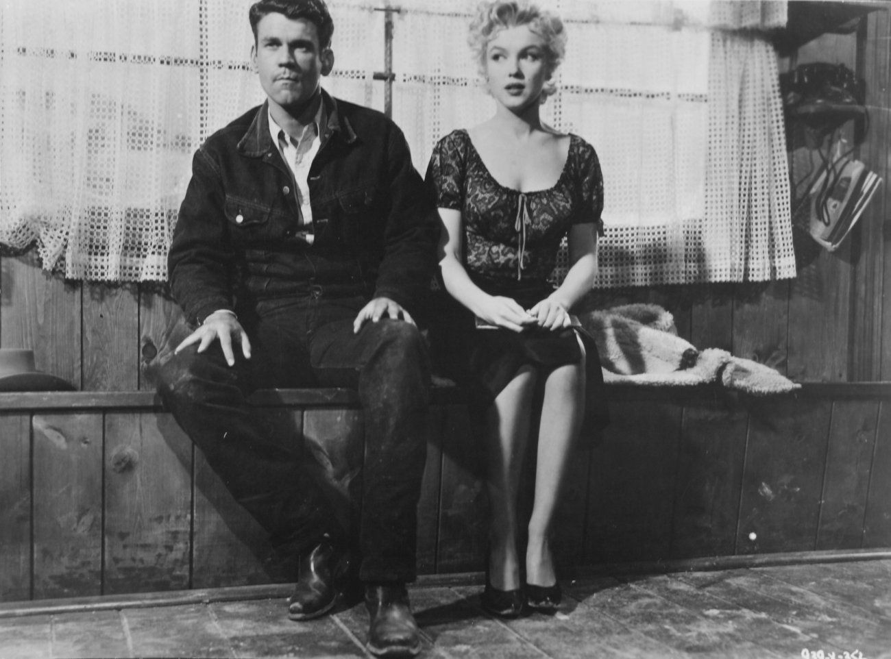 """Don Murray and Marilyn Monroe on the set of """"Bus Stop"""" photographed by Milton Greene 1955"""