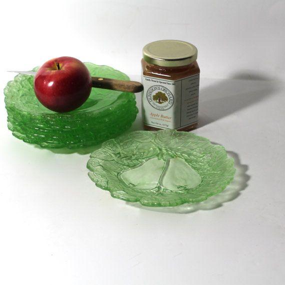 glass plates Vintage apple dessert