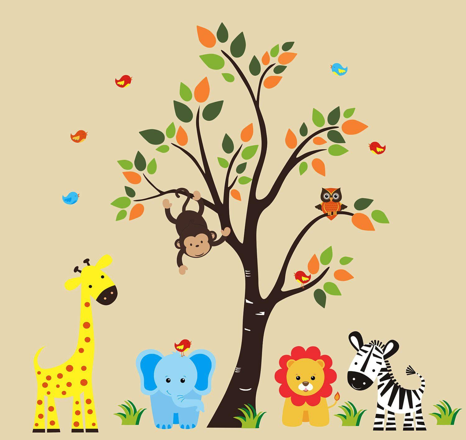 Personalized Nursery Animals With Tree Wall Decals  Wall Sticker,