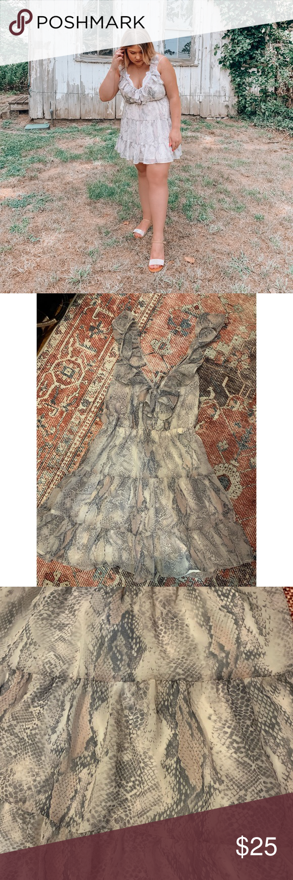 Only worn once! Has elastic waist, very stretchy Ruffle snake print dress. Elastic waist ,backless. Pair with a leather jacket and boots perfect for the colder months Red Dress Boutique Dresses Mini #snakeprintbootsoutfit