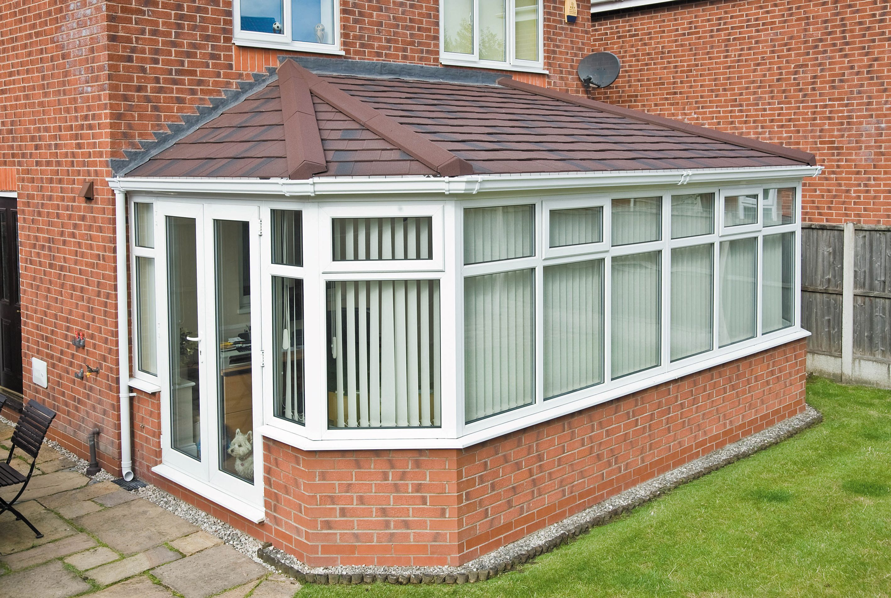 A Very Good Looking Double Hipped Lean To Conservatory Roof Finished With Metrotile Burnt Umber Til Lean To Roof Contemporary Garden Rooms Lean To Conservatory